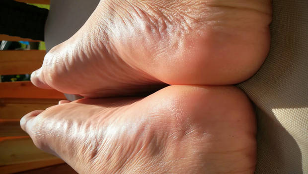 between your feet