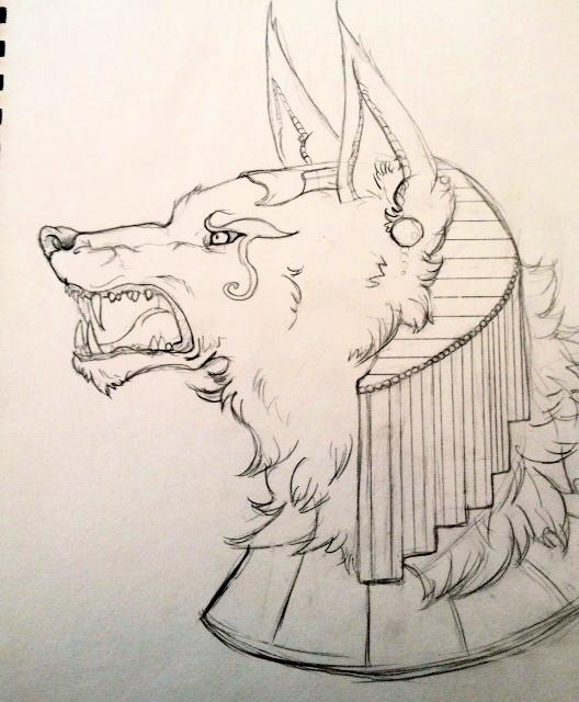 Anubis Sketch by espressocat