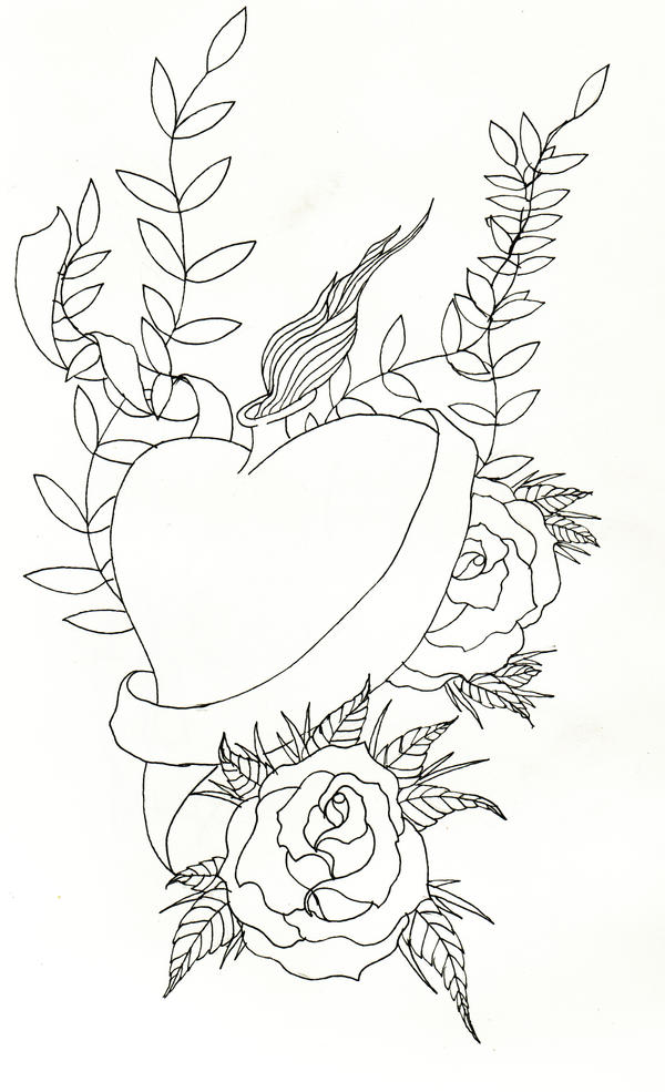 Heart Tattoo Line Drawing : The gallery for gt sacred heart tattoo drawings