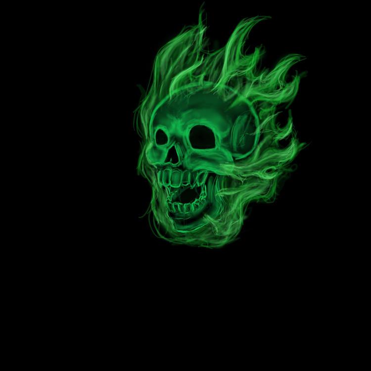 Flaming Green Skull by xposeddreamer on DeviantArt