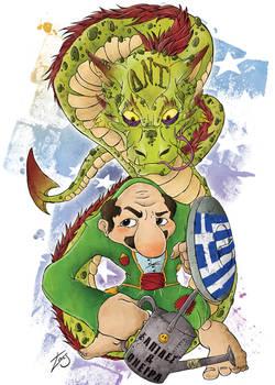 Karagiozis against the IMF cursed-snake