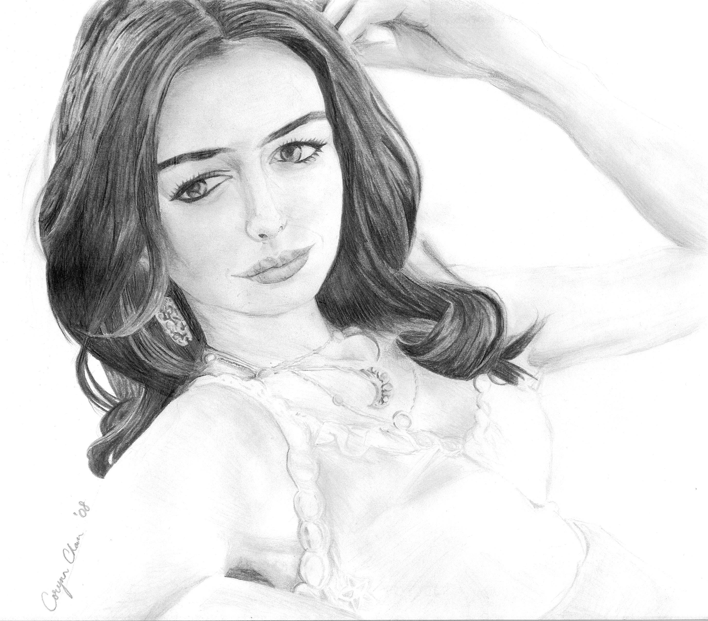 Anne Hathaway Drawing: Anne Hathaway -sketch By Corynnchan On DeviantArt
