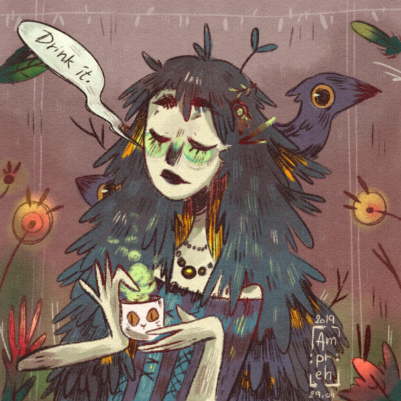 A Doodle With Lady Crow The Apothecary By Ampraeh On