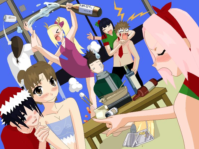 Naruto christmas party by Sasukesbiggestfan