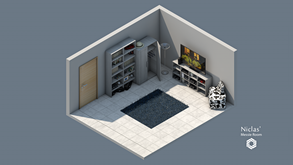 Niclas 39 messie room 3d isometric art by kilianf on for 3d bedroom drawing