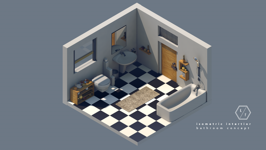 Isometric interior bathroom design concept by kilianf on for Bathroom interior design concepts