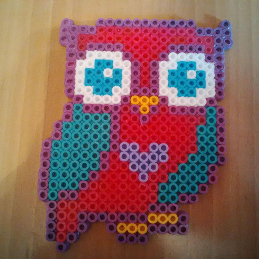 Pink/Turquoise Owl Hama/Perler Bead Design by Karla-Jade-2015 on ...