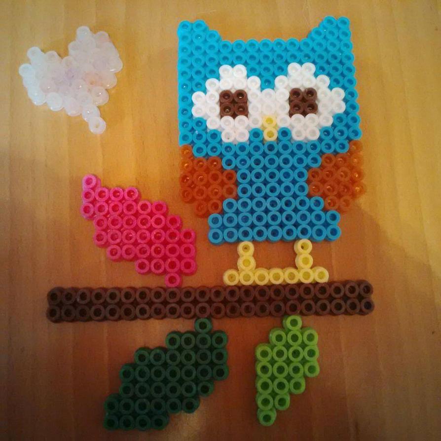 Blue Owl Hama/Perler Bead Design Sat on Perch by Karla-Jade-2015 ...