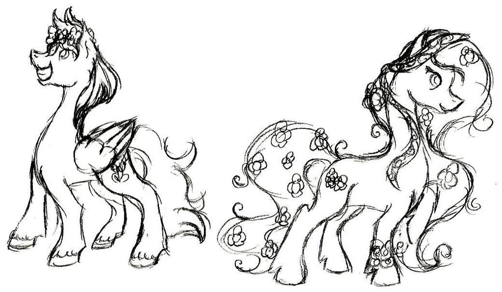 Alstro Wreath and Flower Child Sketch by pretty-pegasus-wings