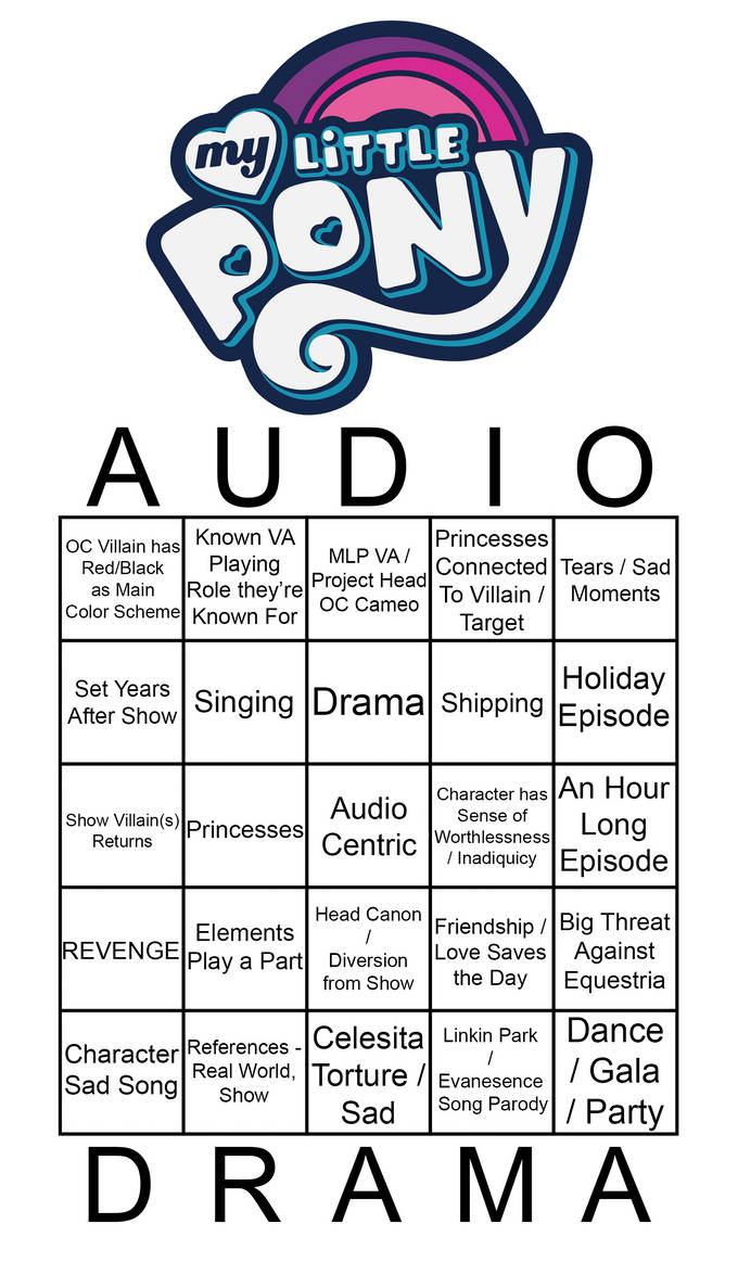 Bingo Card for MLP Audio Dramas by pretty-pegasus-wings on