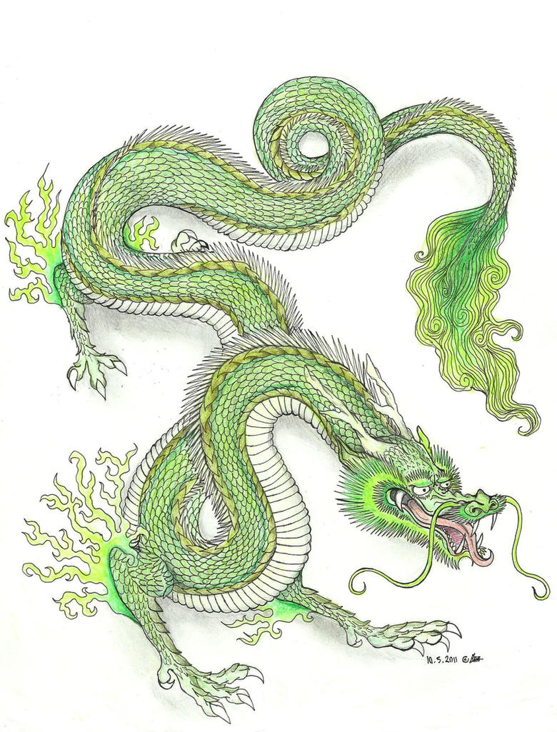 Green Chinese Dragon by Hironi on DeviantArt