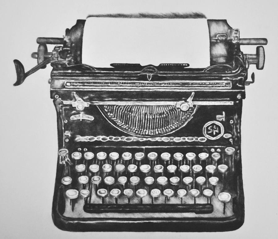 Hand Drawn Vintage Typewriter Sketch Publishing Stock ...
