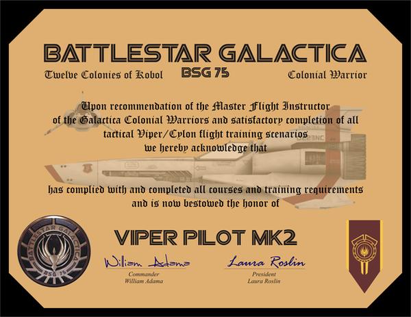 Viper Pilot Certificate by CmdrKerner on DeviantArt