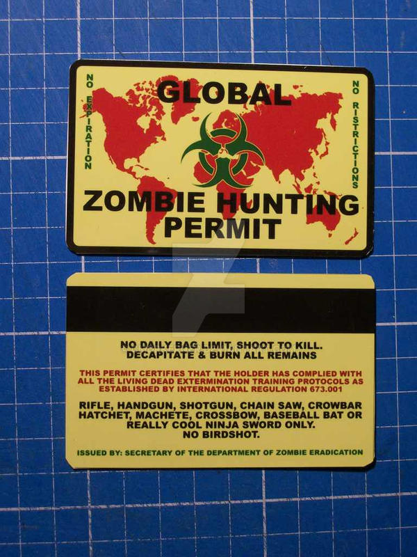 Global Zombie Hunting Permit Card by CmdrKerner