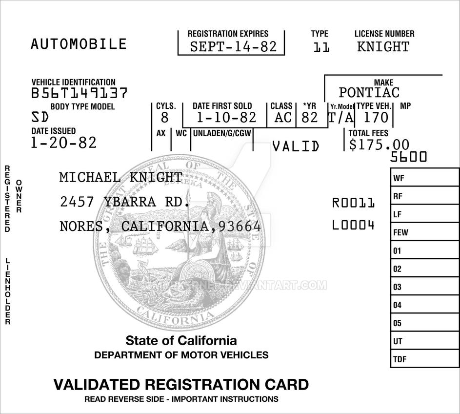 Validated Registration Card From K.I.T.T. By CmdrKerner On