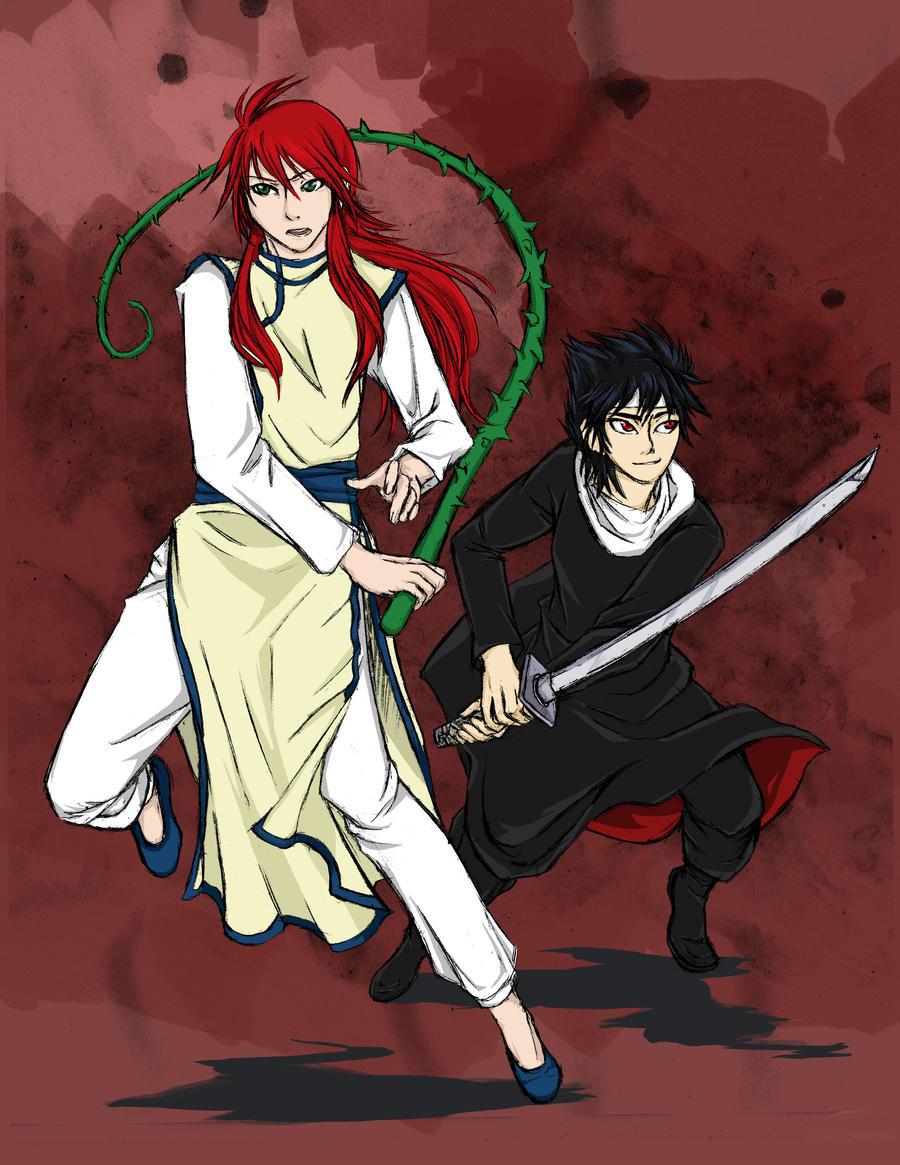 Kurama and Hiei by Jiohui