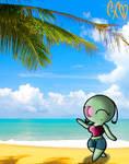 On the beach by Trollan-gurl22