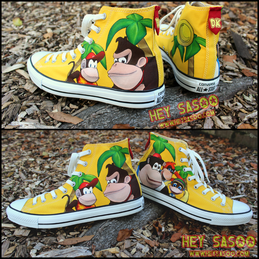 donkey kong 64 custom shoes collage by heysasoo on