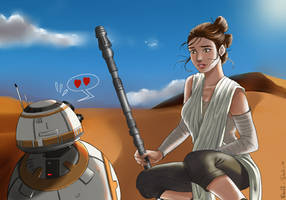 Star wars -  Rey and BB-8 by DoubleDach