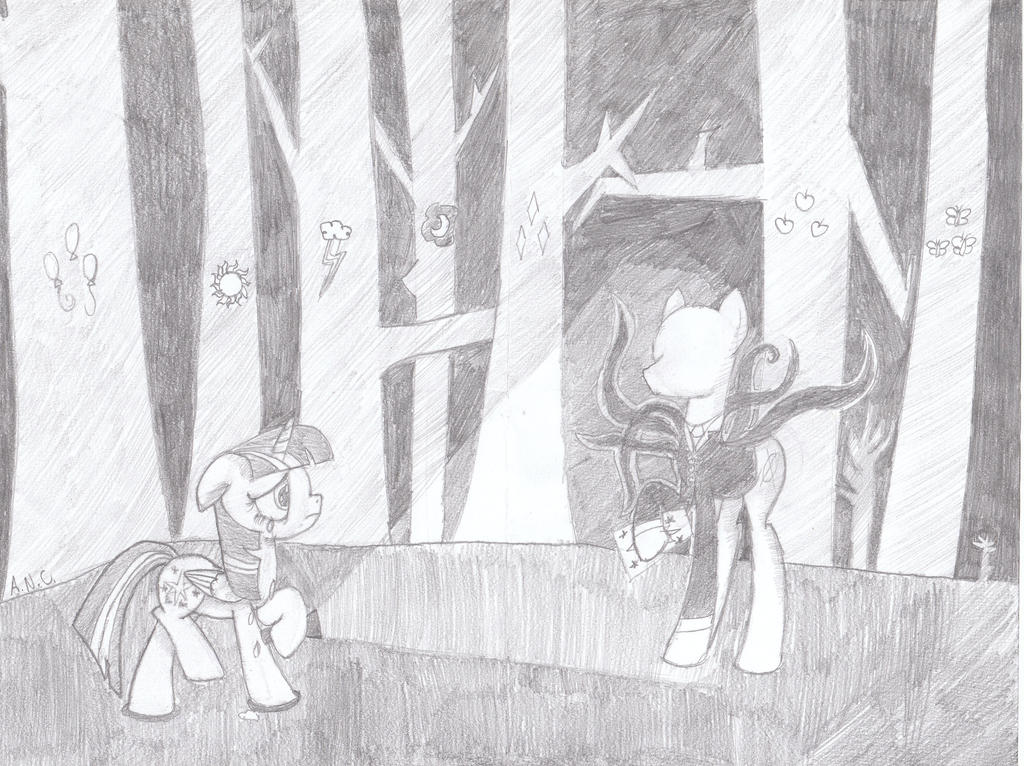 Twilight meets Slenderpony by Monochrome-Crystal