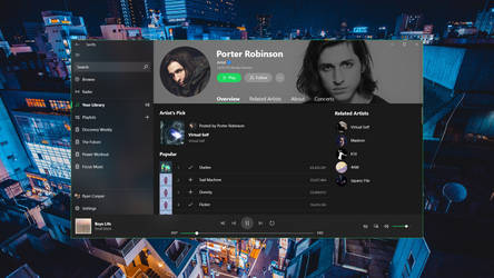 Spotify UWP Concept (Artist Page Part 1)