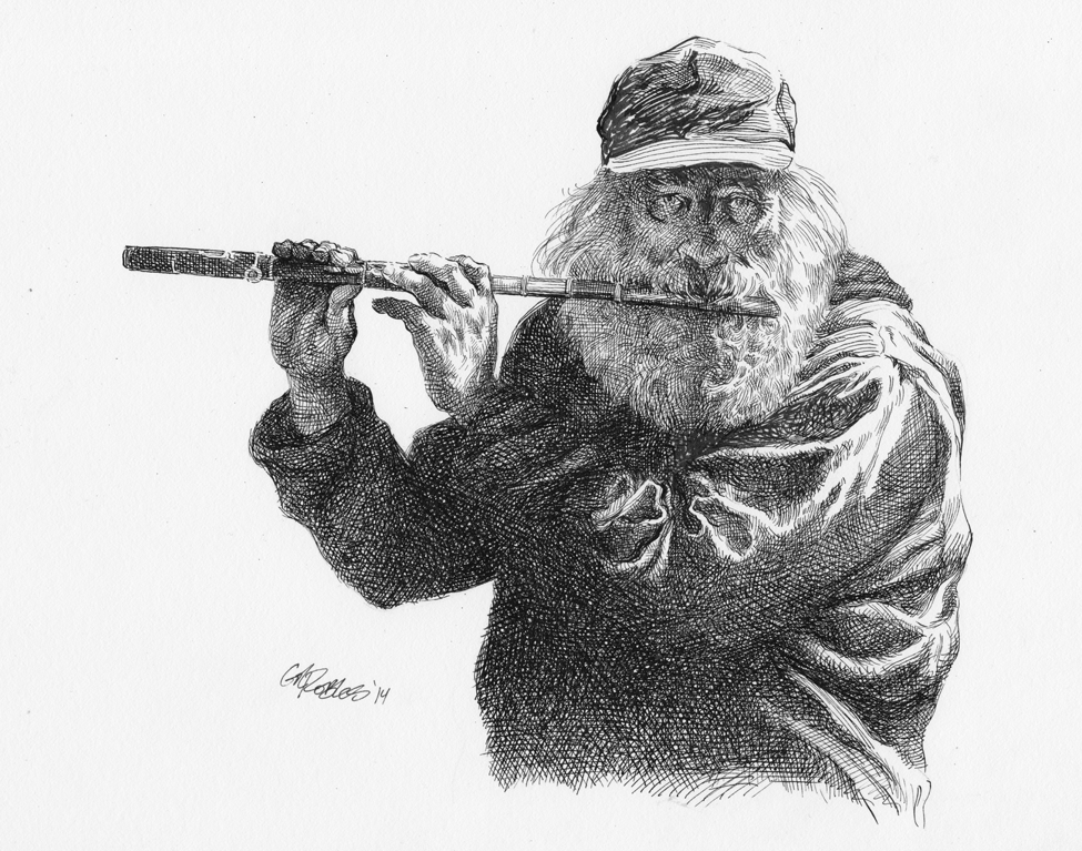 Flute-Player-Pen-and-Ink- by grobles63