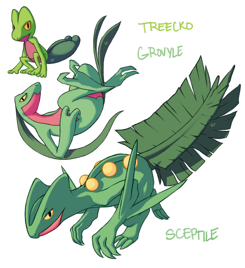 Treecko Grovyle Sceptile by Aphose