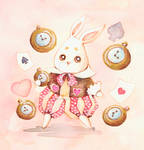 Follow the cute white rabbit