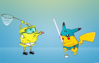Spongedrot vs. Mikachu by tadejmiklavc