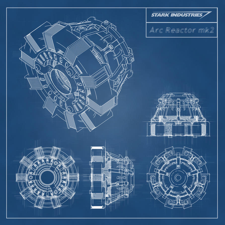 Iron Man -Stark Industries - Arc Reactor Blueprint by stntoulouse on