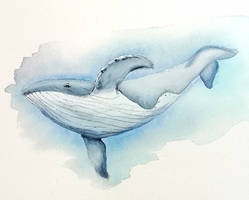 watercolor whale #2