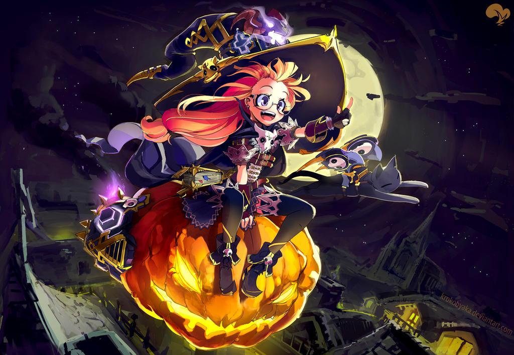 Halloween witch by Krokobyaka