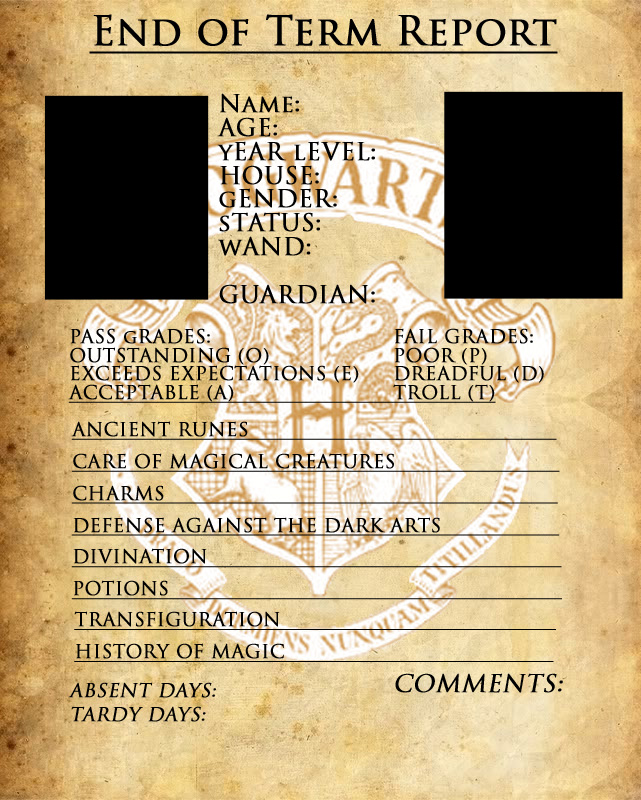 Hogwarts Report Card Template by sarahsaintly on DeviantArt