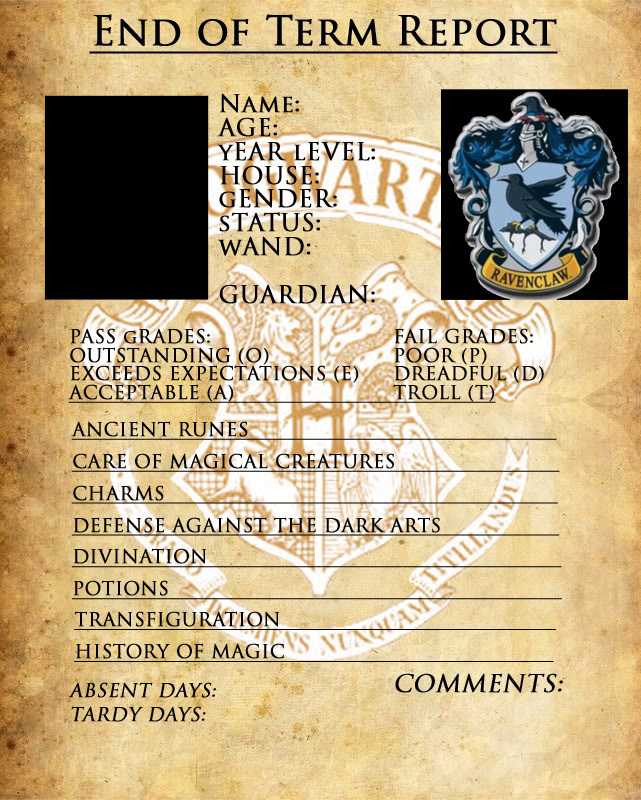 Harry Potter Oc Meme Template By Miscellaneously Kina  C B Ravenclaw Report Card By Sarahsaintly