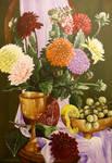 Dahlias with Golden bowls