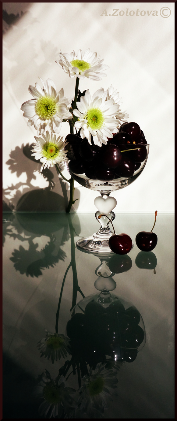Sweet cherry and White chrysanthemums 1 by AnnaZLove