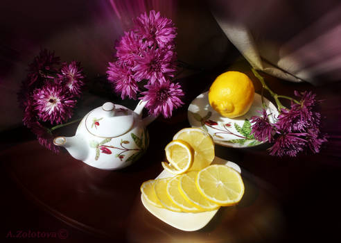 Still life with lemon and chrysanthemums 1
