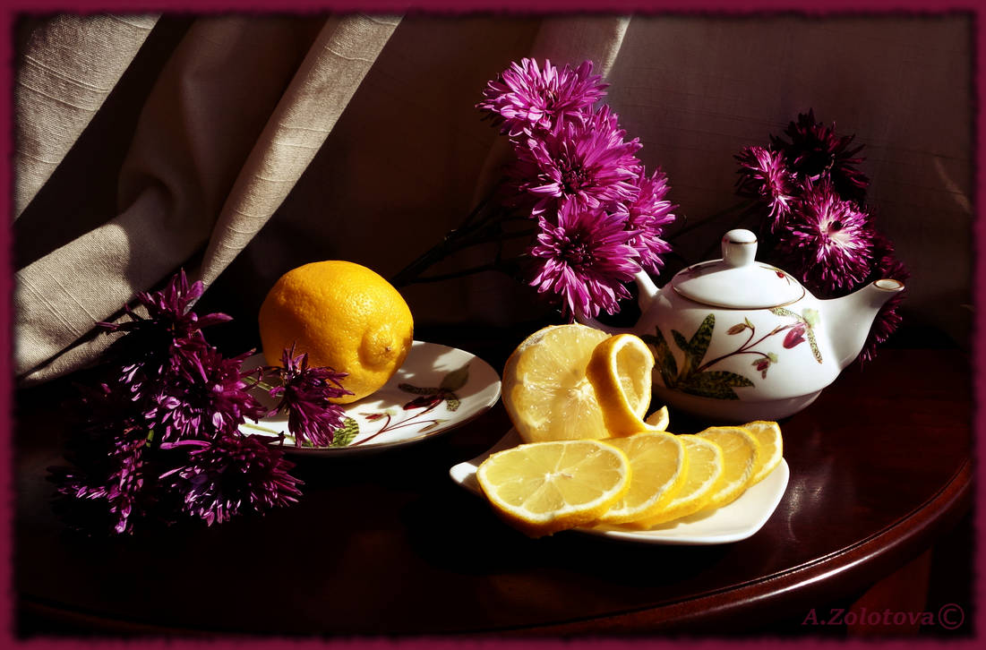 Still life with lemon and chrysanthemums 2 by AnnaZLove