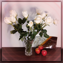 White roses and three apples 3 by AnnaZLove