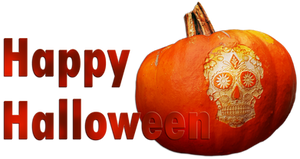 Happy Halloween. Pumpkin-skull. Red