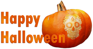 Happy Halloween. Pumpkin-skull. Orange