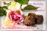 Happy Birthday. December. Rose and chocolates