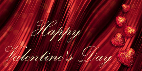 Happy Valentine's Day. Sparkling stars. Red