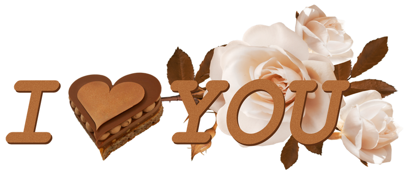 I love You. Chocolate and roses