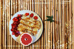 Russian pancakes with grapefruit and strawberry by AnnaZLove