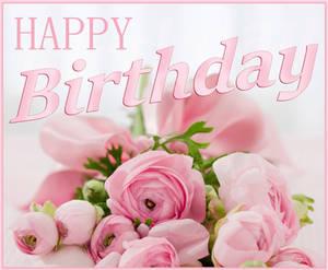 Happy Birthday. Pink bouquet