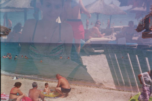 Double exposure with the seaside.