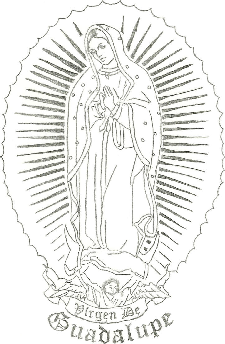 Line Drawing Virgin Mary : How to draw virgin mary