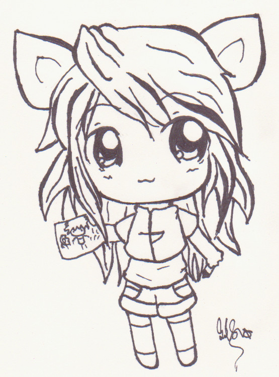 Chibi Anime Cat Drawing Cat girl chibi by Kiwi...