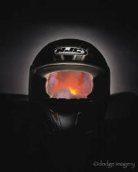 HJC Helmet with fire inside by dodgeimagery